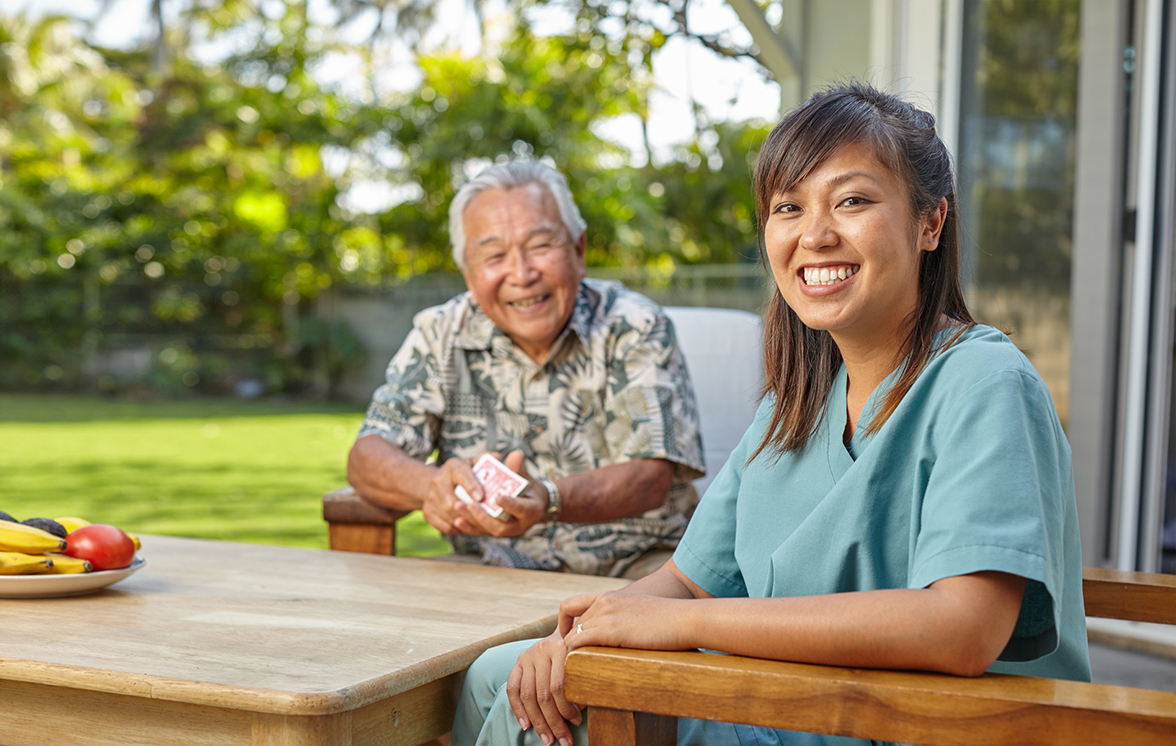 Hawaii senior aging in place with help of home caregiver